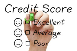 Picture with the words credit score excellent average and poor and has a hand making a check mark in the box next to excellent